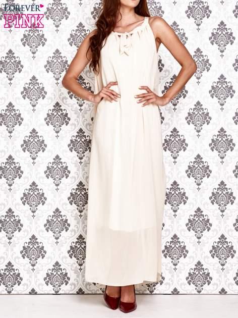 Ecru sukienka maxi z wiązaniem przy dekolcie