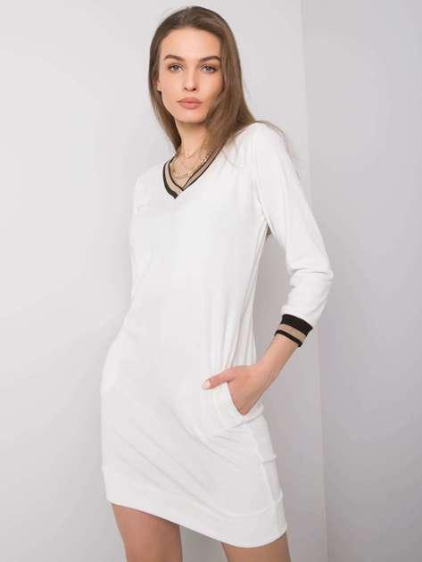 Ecru sukienka welurowa Aspen RUE PARIS