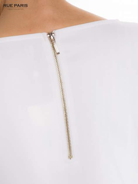 Ecru sukienka z obniżoną talią o rękawie długości 3/4                                  zdj.                                  7