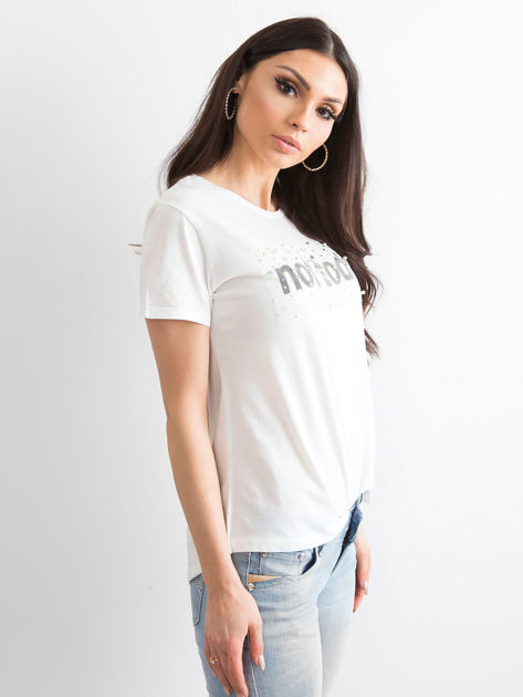 Ecru t-shirt damski NOT TODAY                              zdj.                              1
