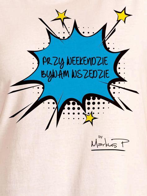 Ecru t-shirt damski PRZY WEEKENDZIE BYWAM WSZĘDZIE by Markus P                                  zdj.                                  2