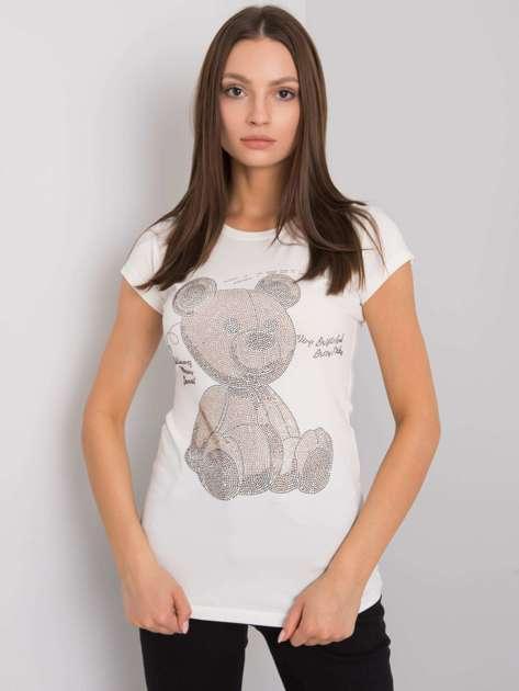 Ecru t-shirt z aplikacją Misha