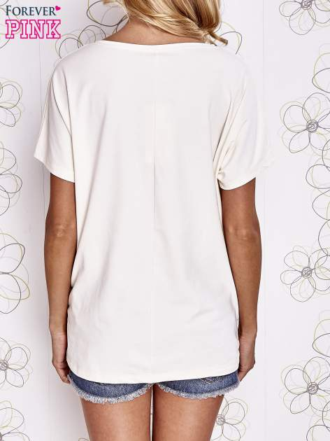 Ecru t-shirt z hashtagiem #BECAUSE                                  zdj.                                  4