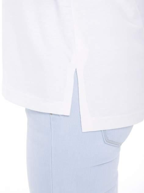 Ecru t-shirt z metalicznym nadrukiem HARD i koronkową wstawką z tyłu                                  zdj.                                  8