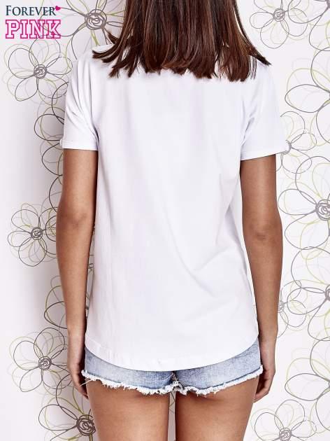Ecru t-shirt z motywem serca i kokardki                                  zdj.                                  4