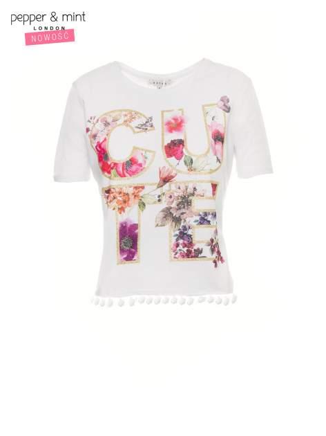 Ecru t-shirt z nadrukiem CUTE i pomponami w stylu etno                                  zdj.                                  2