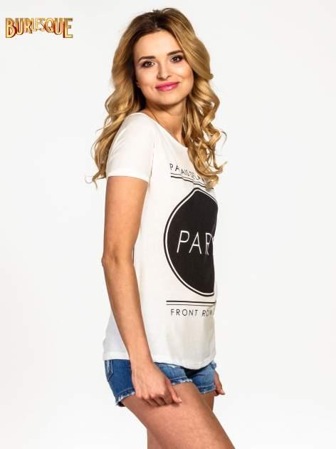 Ecru t-shirt z nadrukiem PARIS                                  zdj.                                  3