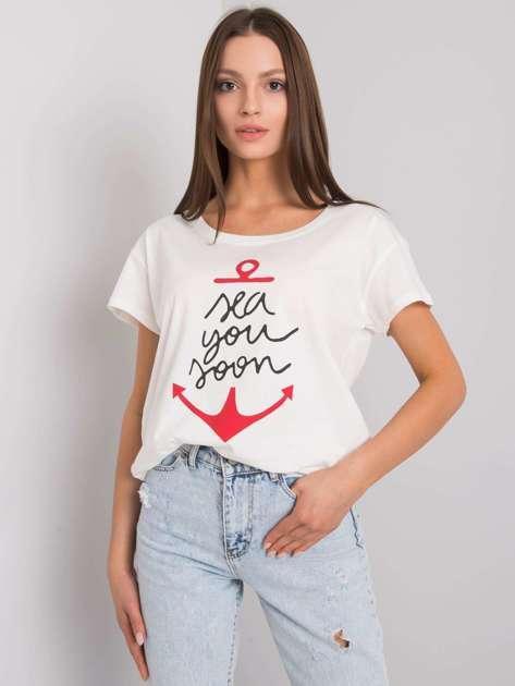 Ecru t-shirt z nadrukiem Silva