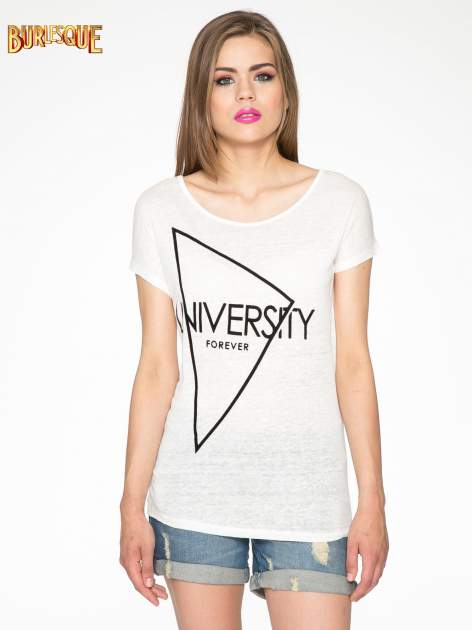 Ecru t-shirt z nadrukiem UNIVERSITY FORVER                                  zdj.                                  11