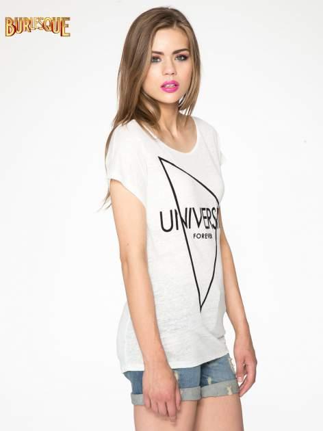 Ecru t-shirt z nadrukiem UNIVERSITY FORVER                                  zdj.                                  3