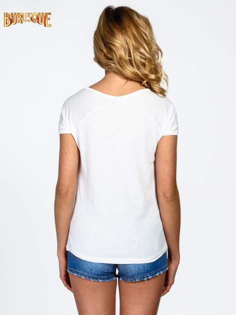 Ecru t-shirt z nadrukiem kwiatowym PRETTY GIRL                                  zdj.                                  4