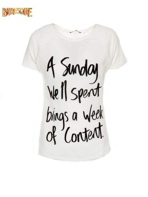 Ecru t-shirt z napisem A SUNDAY                                  zdj.                                  5