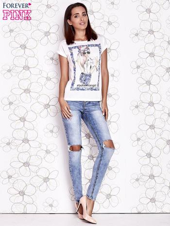 Ecru t-shirt z napisem BOHEMIAN GIRL                                  zdj.                                  4