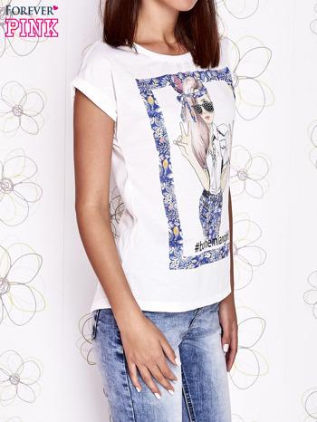 Ecru t-shirt z napisem BOHEMIAN GIRL                                  zdj.                                  3