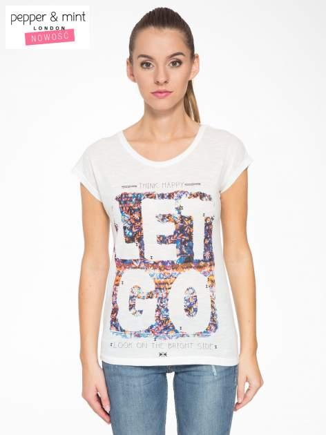 Ecru t-shirt z napisem LET GO                                  zdj.                                  1