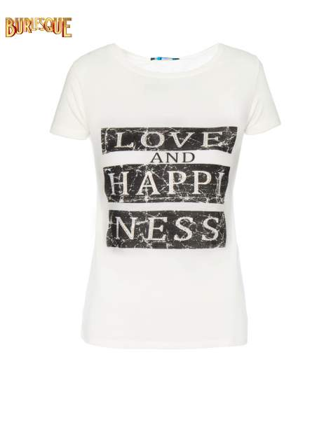 Ecru t-shirt z napisem LOVE AND HAPPINESS