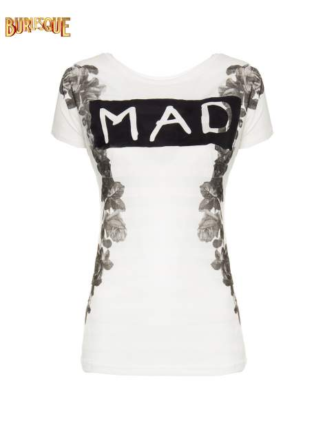 Ecru t-shirt z napisem MAD i kwiatowym nadrukiem                                  zdj.                                  8
