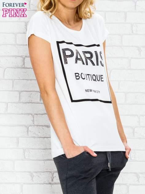 Ecru t-shirt z napisem PARIS BOUTIQUE z dżetami                                  zdj.                                  3