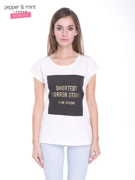Ecru t-shirt z zabawnym nadrukiem SHORTEST HORROR STORY 8 AM. MONDAY
