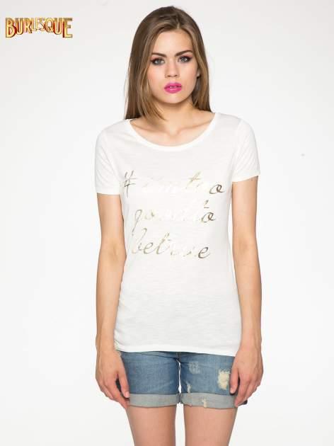 Ecru t-shirt ze złotym hasztagiem                                  zdj.                                  12