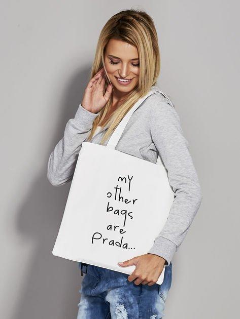 Ecru torba materiałowa MY OTHER BAGS ARE PRADA                                  zdj.                                  3