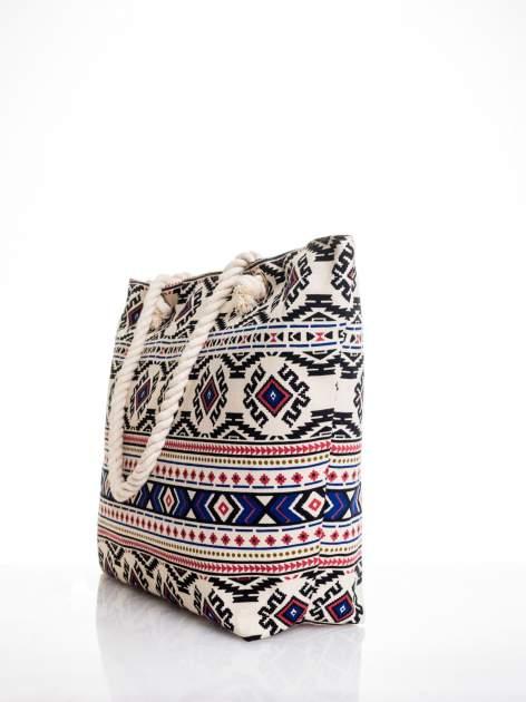 Ecru torba plażowa w azteckie wzory                                  zdj.                                  4
