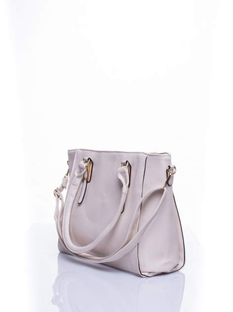 Ecru torba shopper bag z odpinanym paskiem                                  zdj.                                  4