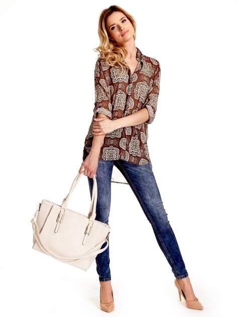 Ecru torba shopper bag z odpinanym paskiem                                  zdj.                                  2