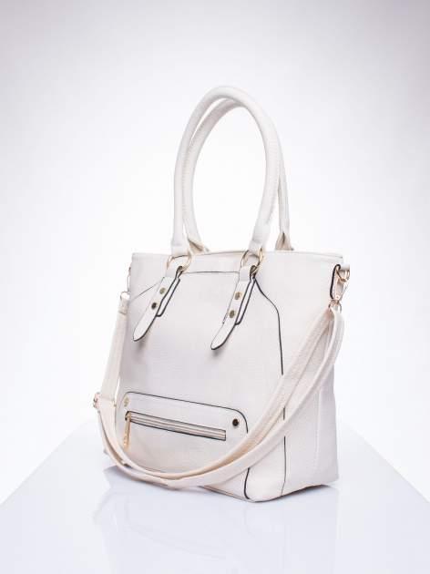 Ecru torba shopper bag z suwakiem                                  zdj.                                  2