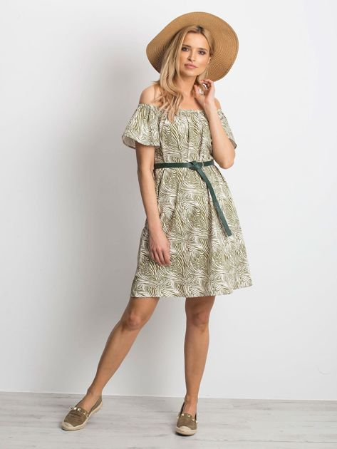 Ecru-zielona sukienka Mansion                              zdj.                              4