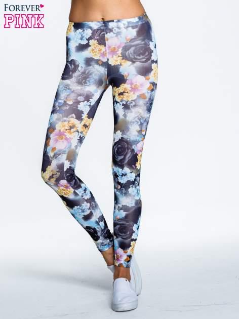 Elastyczne legginsy w ciemne kwiatowe wzory