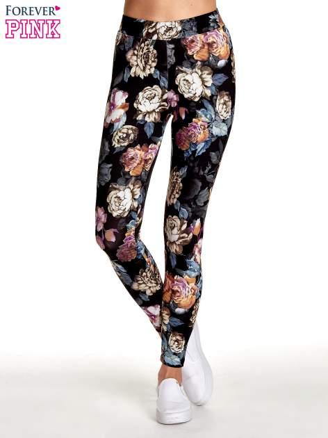 Elastyczne legginsy w kwiatowy wzór                                  zdj.                                  1