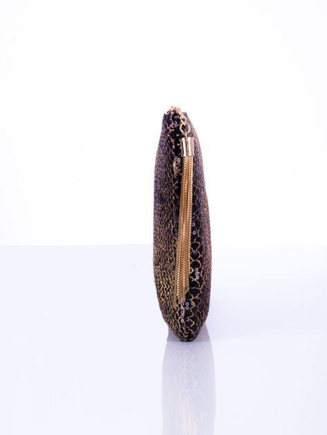 Elegancka kopertówka z motywem wężowej skóry czarna                              zdj.                              5