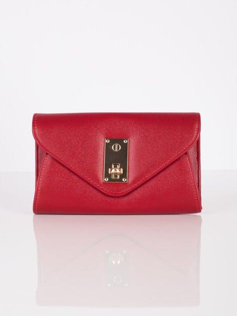 Elegancka kopertówka z ozdobnym zapięciem ciemno czerwona                              zdj.                              2