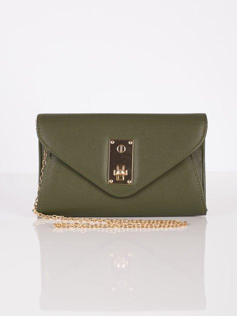 Elegancka kopertówka z ozdobnym zapięciem zielona                              zdj.                              8