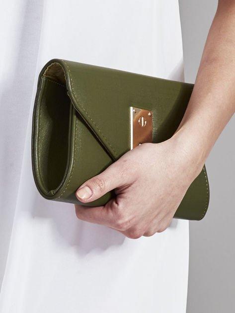Elegancka kopertówka z ozdobnym zapięciem zielona                              zdj.                              5