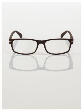 Eleganckie brązowe matowe korekcyjne okulary do czytania +3.5 D  z sytemem FLEX na zausznikach                                  zdj.                                  3