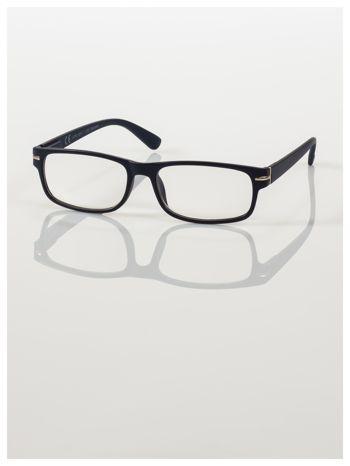 Eleganckie granatowe matowe korekcyjne okulary do czytania +1.0 D  z sytemem FLEX na zausznikach                                  zdj.                                  2