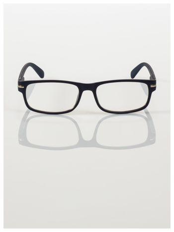 Eleganckie granatowe matowe korekcyjne okulary do czytania +2.0 D  z sytemem FLEX na zausznikach                                  zdj.                                  3