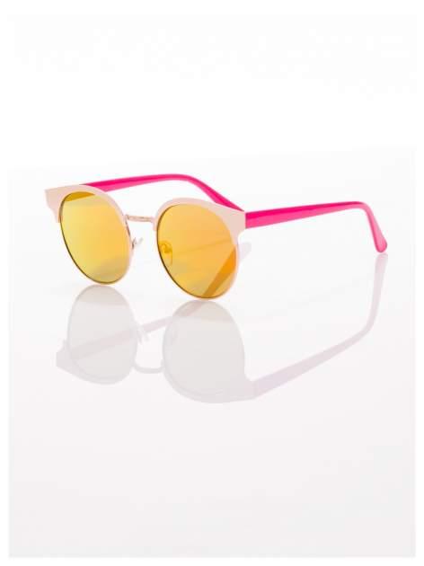 FASHION okulary przeciwsłoneczne KOCIE OCZY stylizowane na FENDI różowo-złote                                  zdj.                                  2
