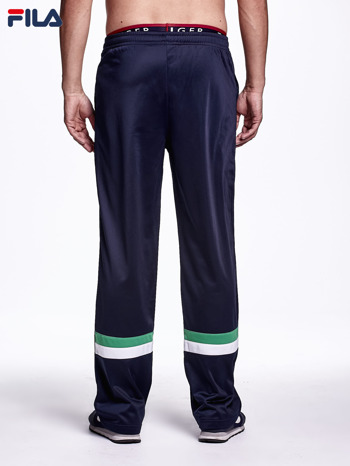 FILA Granatowe spodnie dresowe męskie z kolorowymi modułami