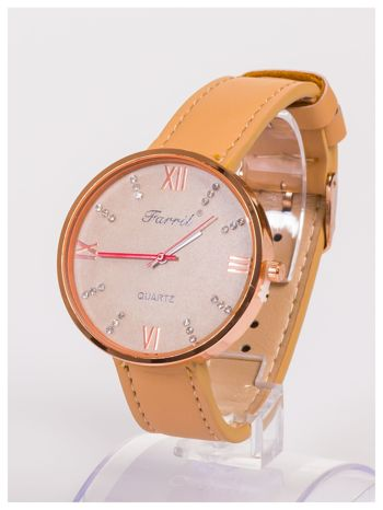 Farril -Klasyka i elegancja beżowy damski zegarek retro z cyrkoniami -Rose gold                                  zdj.                                  4