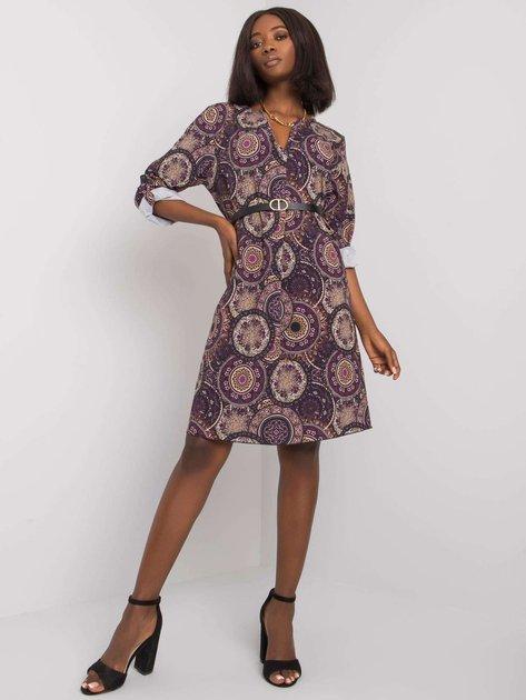 Fioletowa sukienka we wzory Kaipo