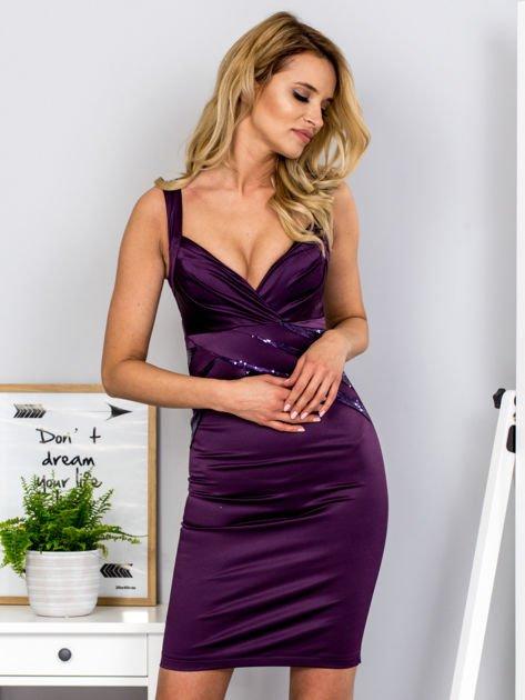 Fioletowa sukienka z cekinowymi wstawkami                              zdj.                              1