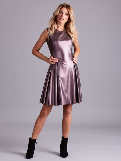 Fioletowa sukienka z ekoskóry                              zdj.                              4