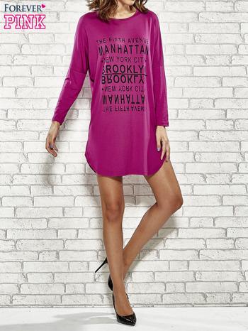 Fioletowa sukienka z napisem NEW YORK CITY                                  zdj.                                  2