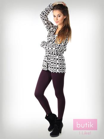 Fioletowe gładkie legginsy bawełniane