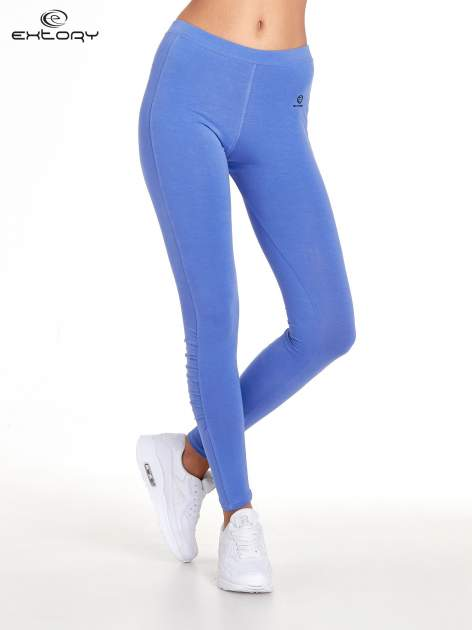 Fioletowe legginsy sportowe z drapowaniem                                  zdj.                                  1