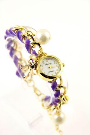 Fioletowo- złoty zegarek damski na złotej bransolecie.                                   zdj.                                  1