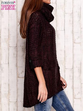 Fioletowy melanżowy sweter z szerokim golfem i kieszeniami                                   zdj.                                  3